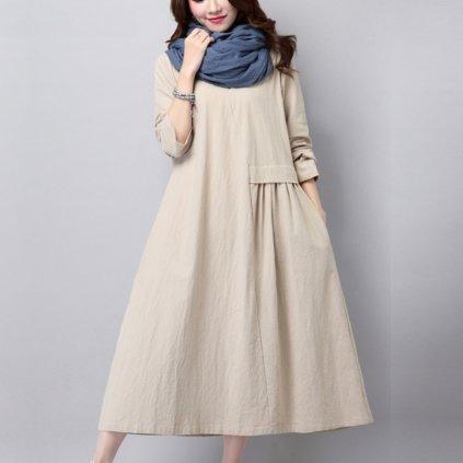 Volné šaty s rukávy FashionEU