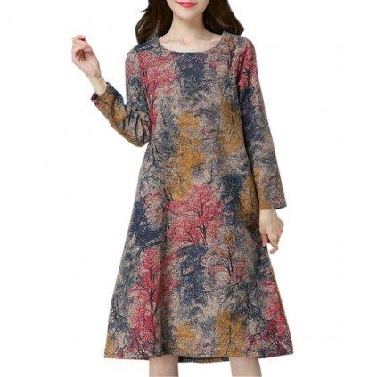 Volné šaty s dlouhým rukávem FashionEU
