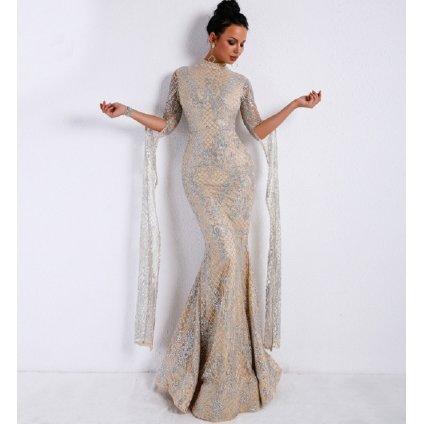 Třpytivé šaty se zvonovými rukávy FashionEU