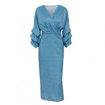 Elegantní midi šaty puntíkované FashionEU