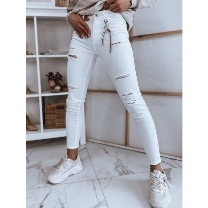 Dámské riflové kalhoty džíny VIVA bílé Dstreet - L