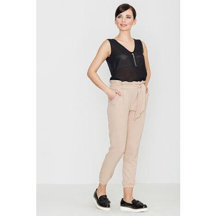Klasické kalhoty s vázáním v pase K296  LENITIF