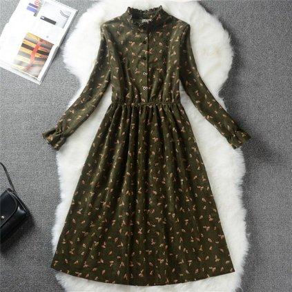 Dámské podzimní šaty se stojáčkem FashionEU
