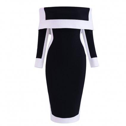 Elegantní šaty černobílé FashionEU