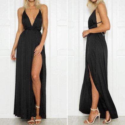 Lesklé maxi šaty FashionEU