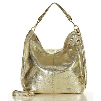 Nadčasová kožená taška MAZZINI - Renella zlatá