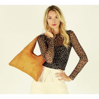 Lehká dámská kabelka kožená taška přes rameno košík