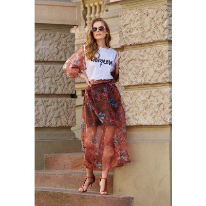 Maxi tylová sukně s květinovým potiskem L19 MAKADAMIA