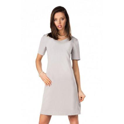 Šedé šaty s výstřihem do V a krátkým rukávem - 4XL