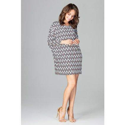 Módní šaty s geometrickými vzory K472 LENITIF