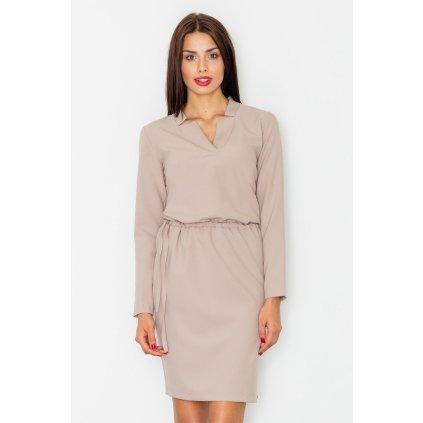 Elegantní šaty s gumičkou v pase a výstřihem M533 FIGL