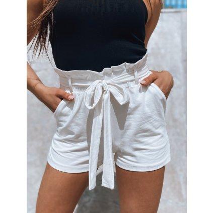 Pohodlné letní šortky s páskem onesize - BÍLÉ ONESIZE