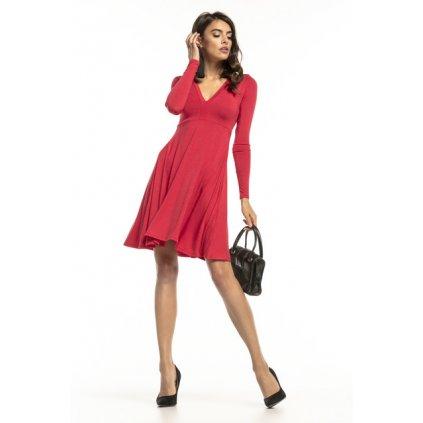 Rozšířené šaty s výstřihem do V T288 TESSITA - červené M