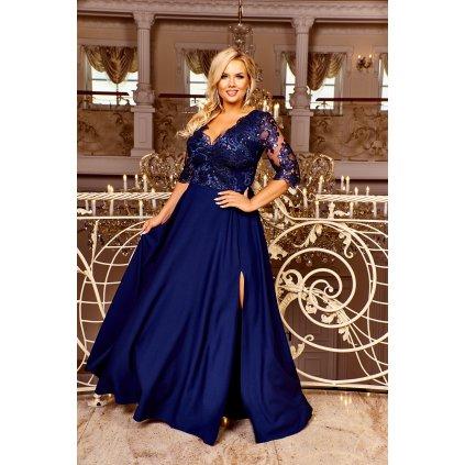 Dlouhé plesové šaty modré s krajkou CRYSTAL 3/4 - XL