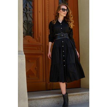 Maxi košilové šaty s knoflíky a volány - ČERNÉ ONESIZE