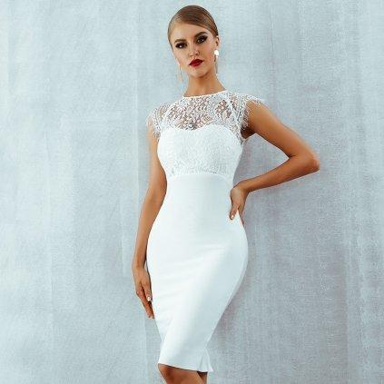 Dámské večerní šaty Angela FashionEU - BÍLÉ S