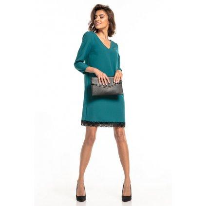 Zelené šaty s výstřihem do V a krajkou T324 TESSITA - 3XL