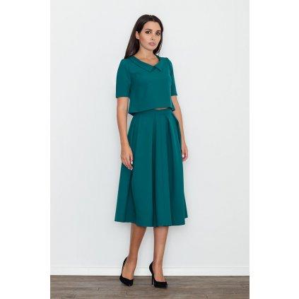 Zelená halenka s límečkem a midi sukně M579 FIGL - M