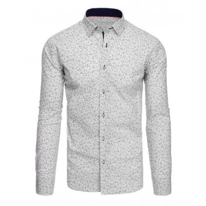 bílá barva Vzorovaná pánská košile s potiskem