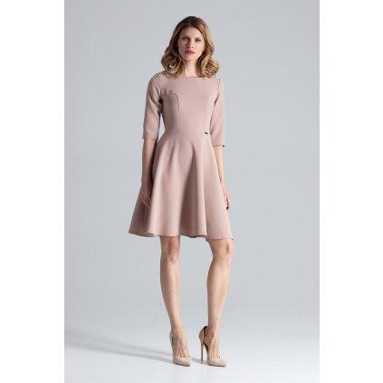 Rozšířené šaty s 3/4 rukávy, vypasované M327 FIGL