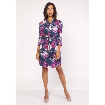 Vzorované šaty se stojatým límcem SUK153 barevné potisky LANTI