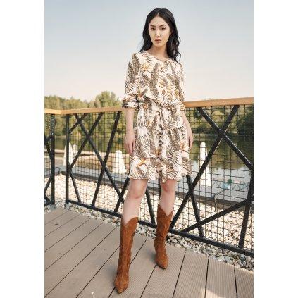 Vzorované šaty s volánkem a potiskem listů SUK175 LANTI