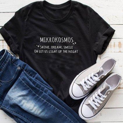 Dámské tričko s nápisem MIKROKOSMOS - Černá XL