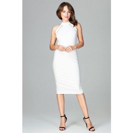 Elegantní pouzdrové šaty K492 LENITIF - BÍLÉ M