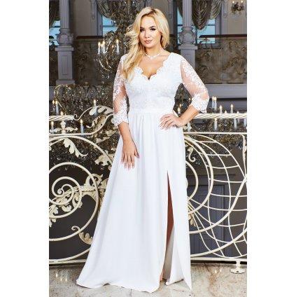 Svatební bílé šaty krajkové s 3/4 a rozparkem na noze - 6XL