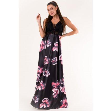 Dlouhé květované šaty bez rukávů s krajkou - ČERNÉ S