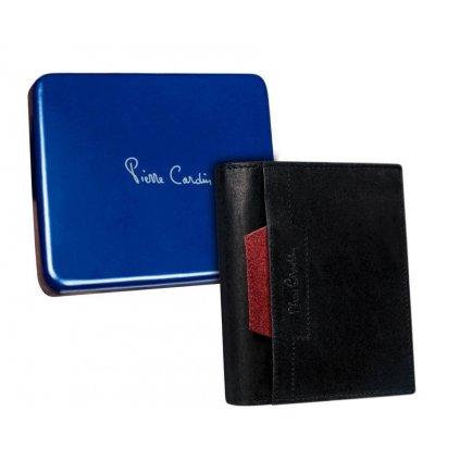 Pánská vertikální kožená peněženka s červeným akcentem