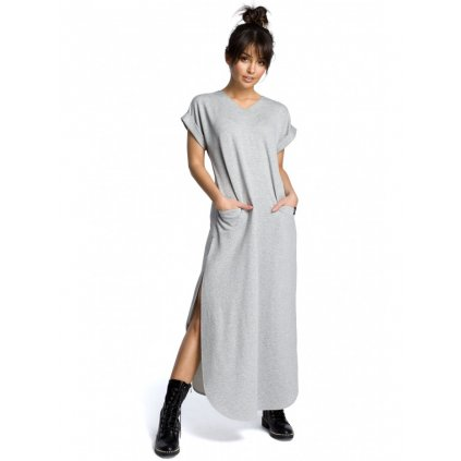 Maxi bavlněné šaty s bočními rozparky B065 - ŠEDÉ L/XL
