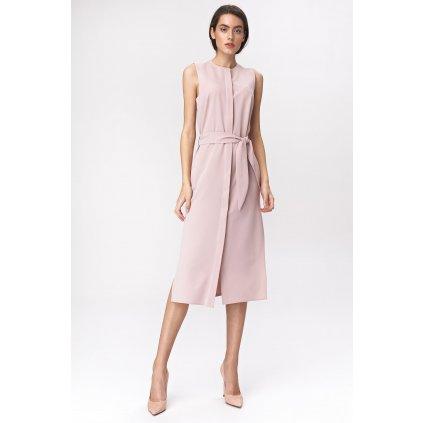 Midi šaty na knoflíky bez rukávů s páskem v pase - RŮŽOVÉ XS