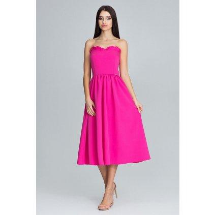 Vypasované krásné šaty 7/8 s korzetem FIGL - FUCHSI S