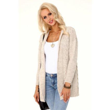Béžový svetr pletený kardigan s copánkovým vzorem - S/M