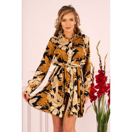 Květované šaty s páskem v pase Crisan MERRIBEL
