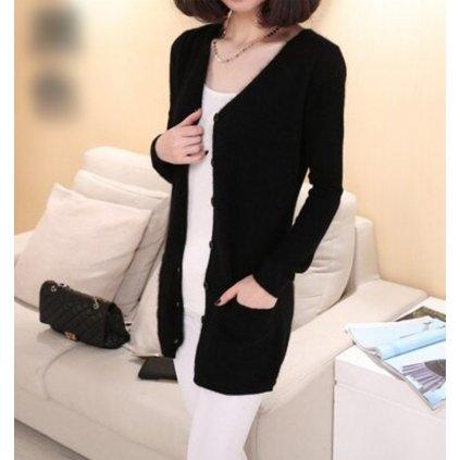 Černý dlouhý svetr na knoflíky A2158 FashionEU - XS