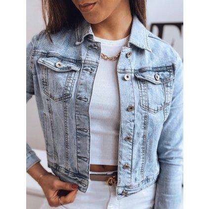 Trendy riflová bunda podzimní denim s límcem - 2XL