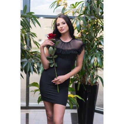 Volánkové mini šaty Scelin se síťovinou 1310 MERRIBEL