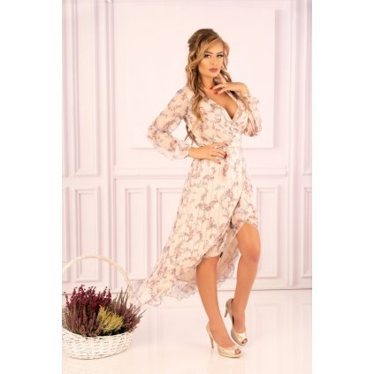 Obálkové midi sexy šaty Metariam s potiskem listů D75 MERRIBEL