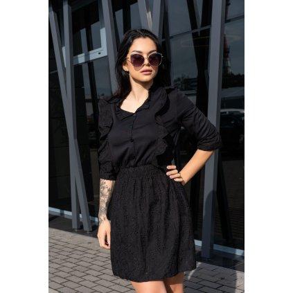 Černé šaty Rien na knoflíky s volánky D1006 MERRIBEL