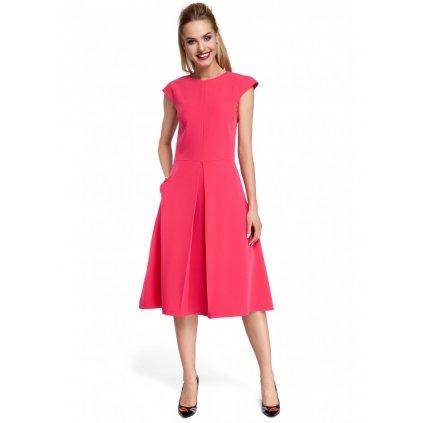 Áčkové šaty jednobarevné délky midi M296 - Růžové S