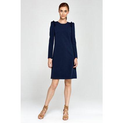 Elegantní šaty s volánky na ramenou NIFE - Tmavě modré S