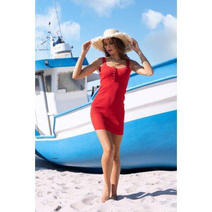 Letní mini šaty Soriee na ramínka s knoflíky MERRIBEL