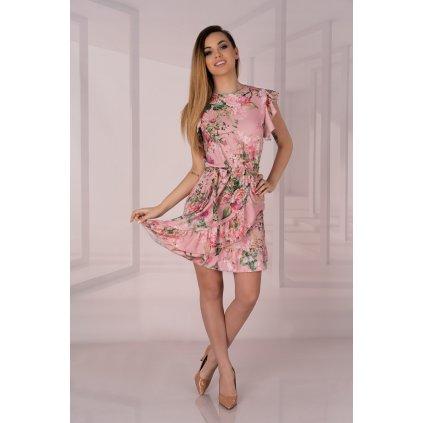 Volánkové mini šaty Masinix bez rukávů s květinami D12 MERRIBEL