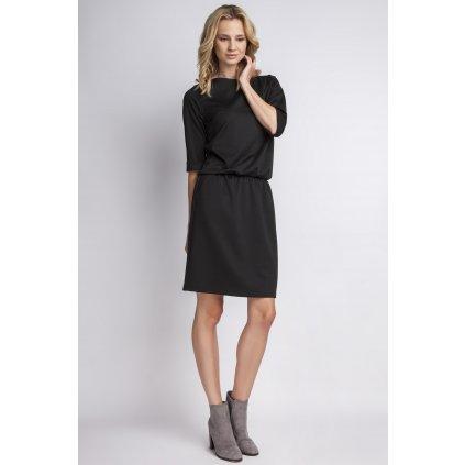 Jednoduché peltené šaty SUK129 černé LANTI