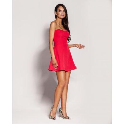 Krátké šaty Fabi s vypasovaným korzetem - MALINOVÉ L