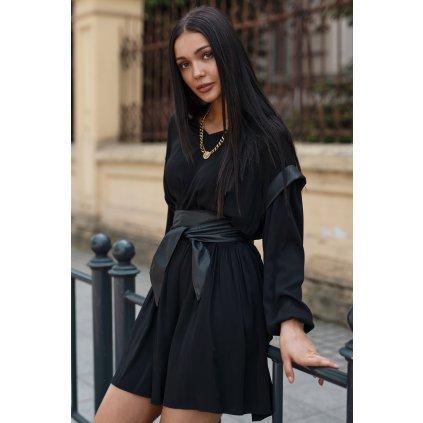 Vzdušné viskózové šaty s koženými prvky černé NU365