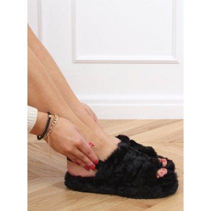 Černé dámské pantofle s gumičkou X8130