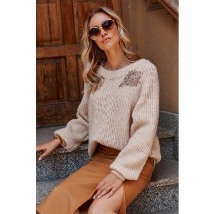 Mohérový svetr s lesklou nášivkou S116 MAKADAMIA